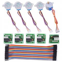 Kuman Stepper Motor for arduino 5 sets 28BYJ-48 ULN2003 5V Stepper Motor + ULN2003 Driver Board + Dupont 40pin Male to Female Jumper Ribbon Cable K67