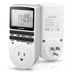 Kuman 15A/1800W 24-Hour Digital Timer Socket with LCD,  3-prong Outlet for Lights household Appliances W45