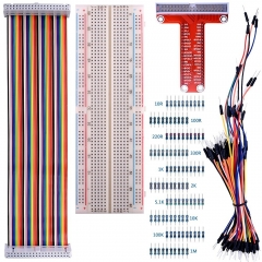 Kuman Kit for Raspberry Pi 3, 830 MB-102 Tie Points Breadboard + GPIO T Type Expansion Board + 65x Jumpers + 40pin Ribbon Cable + 100x resistors K73