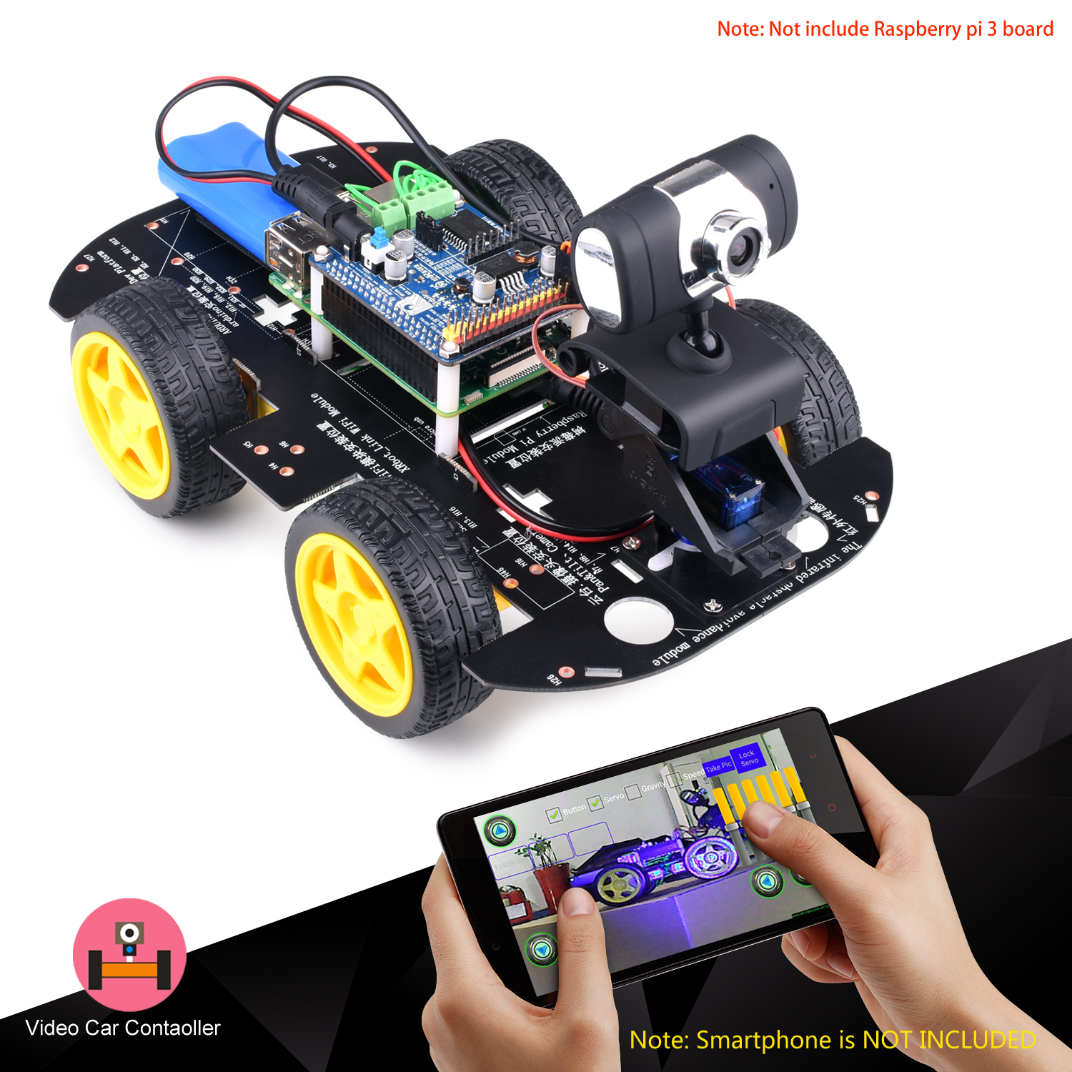 Kuman smart wireless wifi rc 4wd video robot car for raspberry pi kuman smart wireless wifi rc 4wd video robot car for raspberry pi 3 8g sd pc android ios control sm9robot kit sciox Choice Image