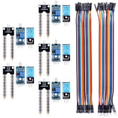 Kuman 5PCS Soil Moisture Sensor + 5PCS Temperature Humidity Sensor + 20pin Jumper and DuPont Cables for Arduino Raspberry pi project KY71