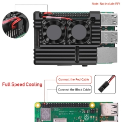 Metal Case for Raspberry Pi 3 Model B+ / Pi 3 B+ with Dual Fan Aluminium Alloy, Heatsink, Wrench and 20Pin Female to Female Dupont Wire