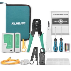 kuman Network Cable Tester, 13pcs Network Repair Tool Kit RJ45 RJ11 Cat5 Wire Crimper Stripper P9100